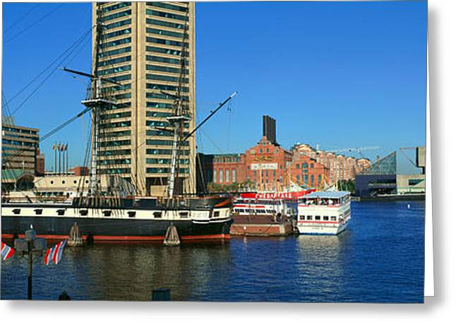 Panoramic View Of The Uss Constitution Greeting Card by Panoramic Images