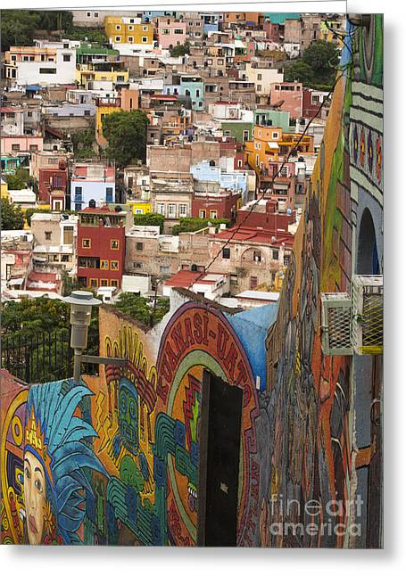 Panoramic Vista Of Colorful Buildings In Downtown Guanajuato Mexico Greeting Card by Juli Scalzi