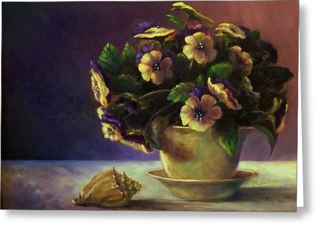 Pansies And Celadon Greeting Card by Ruth Stromswold