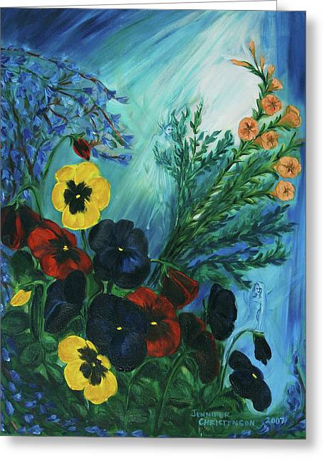 Sun Rays Paintings Greeting Cards - Pansies and Poise Greeting Card by Jennifer Christenson