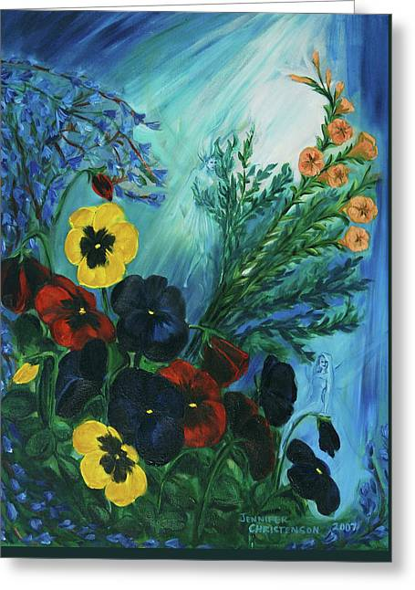 Pansies And Poise Greeting Card by Jennifer Christenson