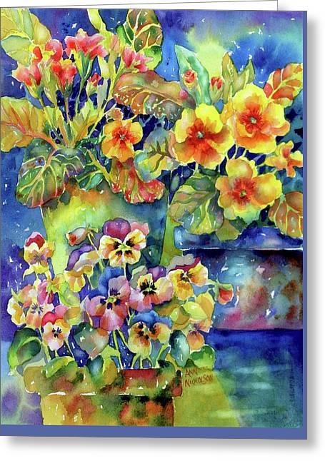 Pansies And Primroses Greeting Card
