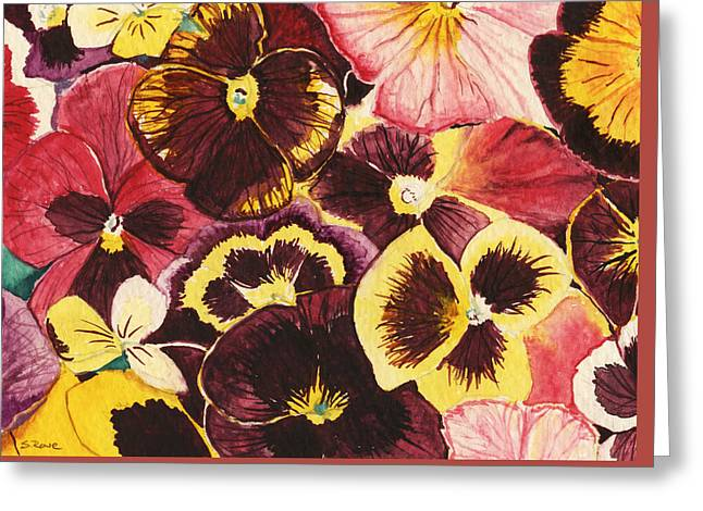 Pansies Competing For Attention Greeting Card by Shawna Rowe