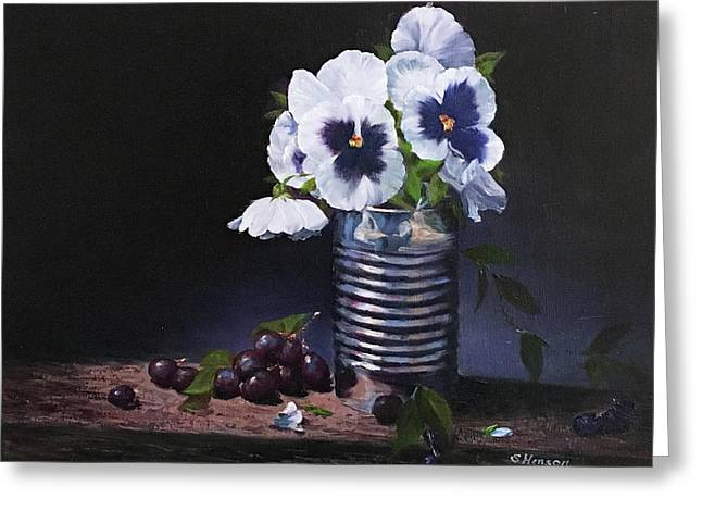 Pansies In A Can Greeting Card