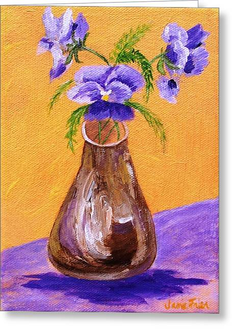 Pansies In Brown Vase Greeting Card