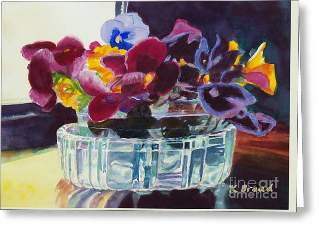 Pansies In Crystal Vase   Greeting Card