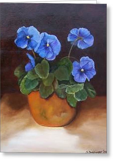 Pansies In Terracotta Greeting Card
