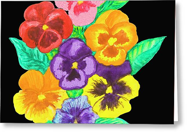 Pansies On Black Greeting Card
