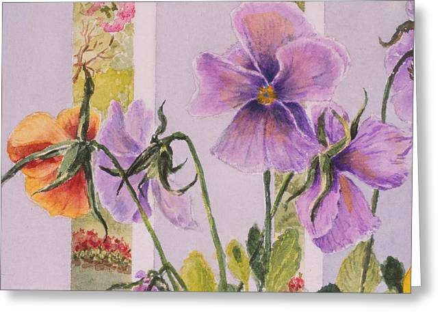 Pansies On My Porch Greeting Card by Mary Ellen Mueller Legault