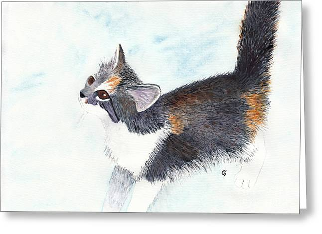 Calico Barn Cat Watercolor Greeting Card