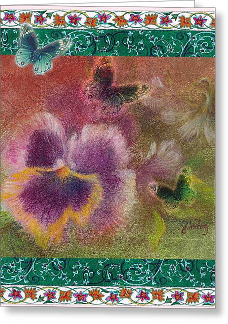 Pansy Butterfly Asianesque Border Greeting Card