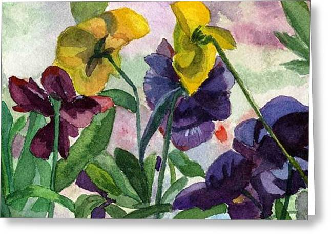 Pansy Field Greeting Card by Lynne Reichhart