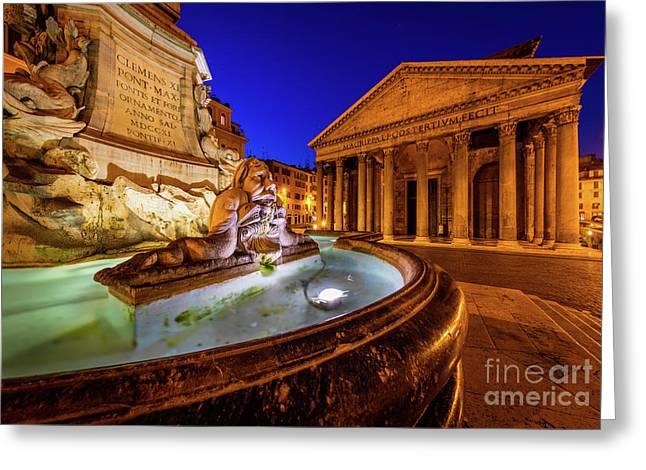 Pantheon By Night Greeting Card by Inge Johnsson