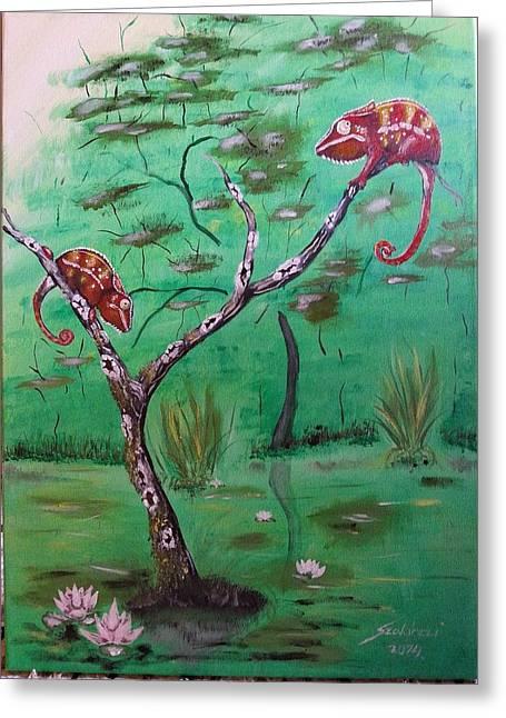 Panther Chameleons On The Lake Greeting Card by Judit Szalanczi