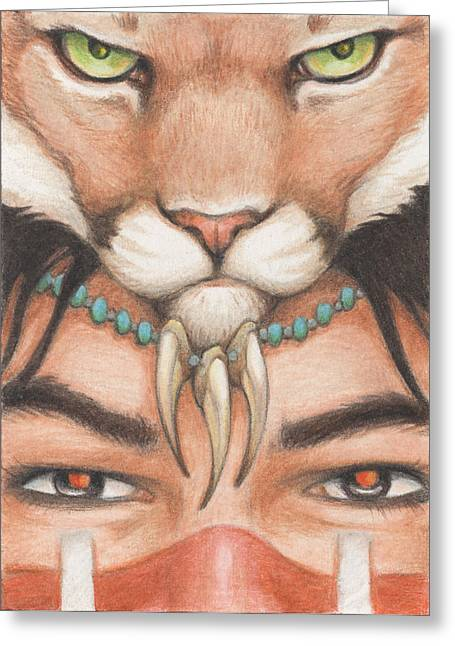Panther Warrior Greeting Card by Amy S Turner