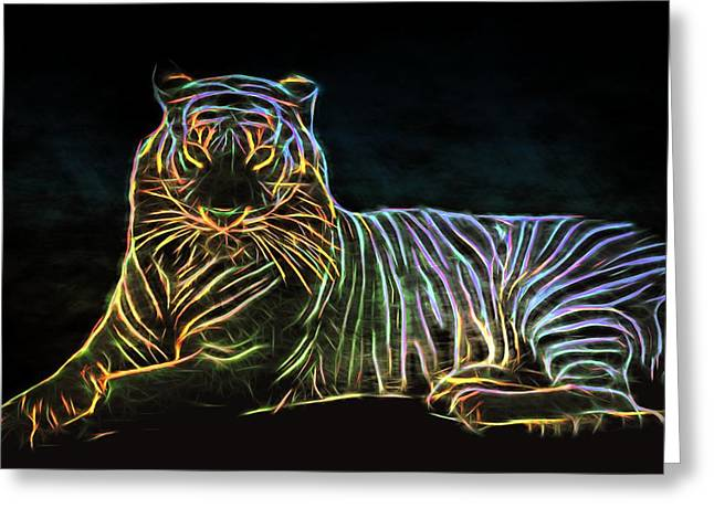 Greeting Card featuring the digital art Panthera Tigris by Aaron Berg
