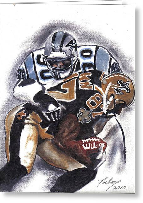 Panthers Vs Saints Greeting Card by Torben Gray