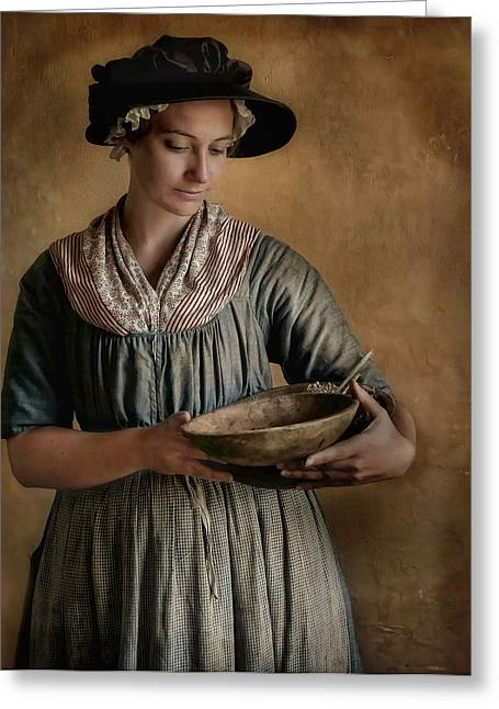 Period Clothing Greeting Cards - Pantry Pondering Greeting Card by Robin-lee Vieira