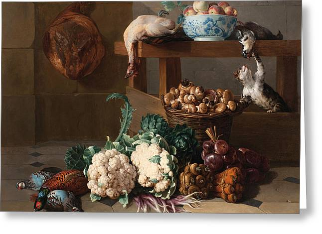 Pantry With Artichokes Cauliflowers And A Basket Of Mushrooms Greeting Card by Alexandre-Francois Desportes