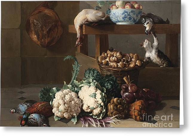 Pantry With Artichokes Cauliflowers And A Basket Of Mushrooms Greeting Card by MotionAge Designs
