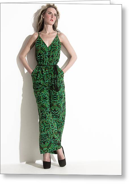 Pantsuit In Green Greeting Card by Ralf Kaiser