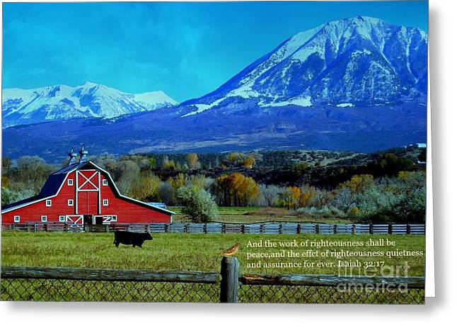 Paonia Mountain And Barn Greeting Card by Annie Gibbons