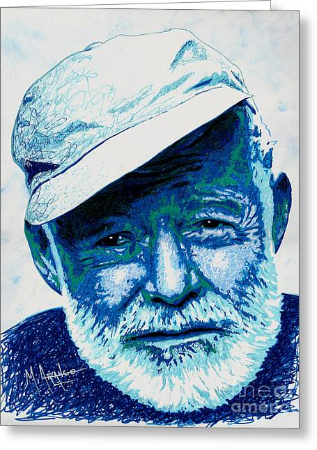 Papa Hemingway Greeting Card by Maria Arango
