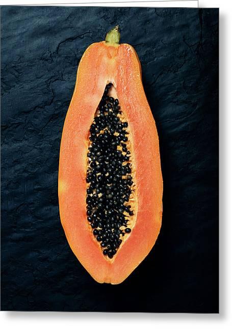 Papaya Cross-section On Dark Slate Greeting Card