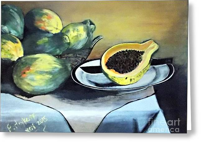 Papaya Still Life Greeting Card