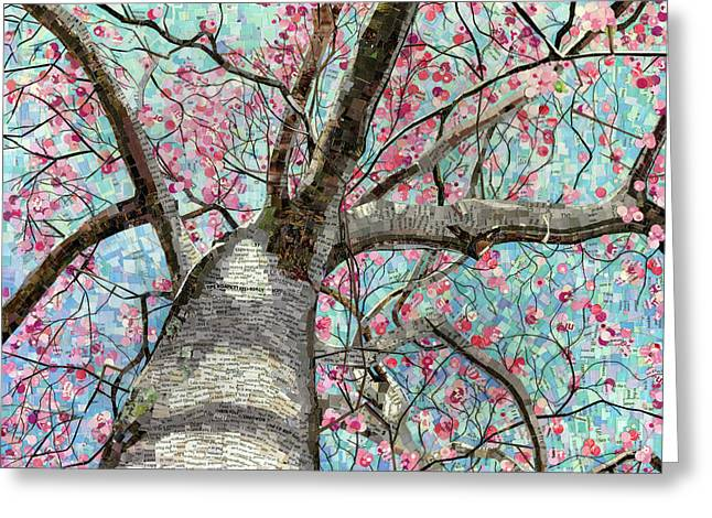 Greeting Card featuring the mixed media Paper Magnolias by Shawna Rowe