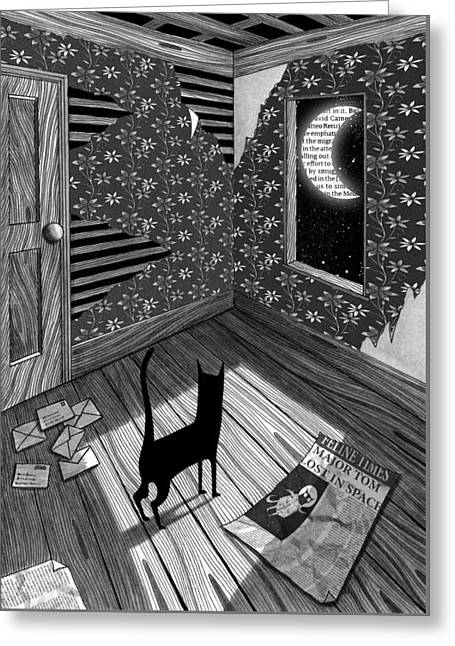 Paper Moon Greeting Card by Andrew Hitchen
