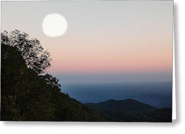Paper Moon Over Blue Ridge Greeting Card