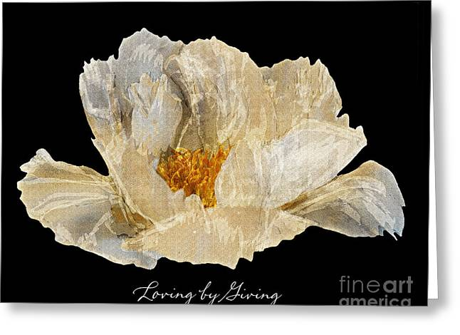 Paper Peony Loving By Giving Greeting Card by Diane E Berry