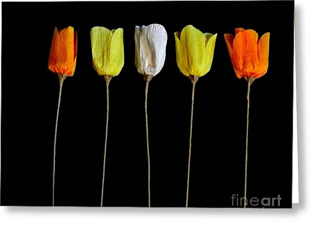 Paper Tulips Five Greeting Card by Marsha Heiken