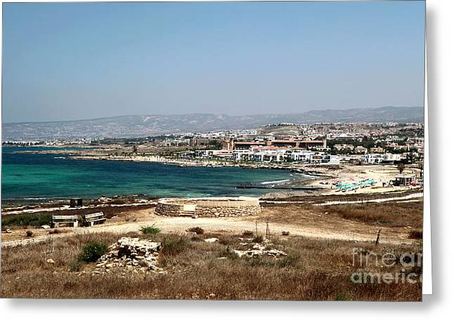 Paphos Beachscape Greeting Card by John Rizzuto