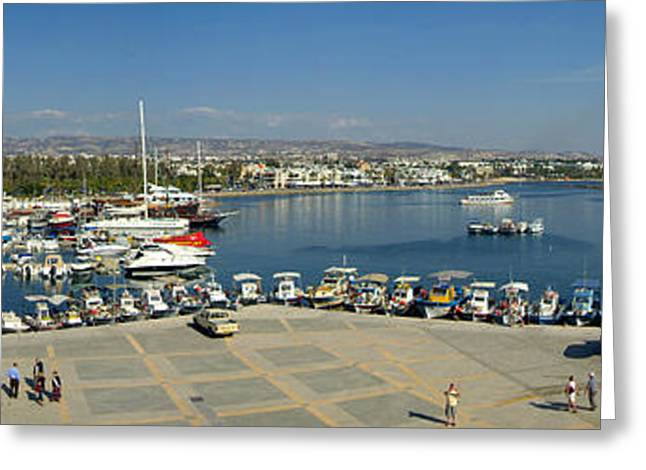 Paphos Harbour Greeting Card by Donald Buchanan