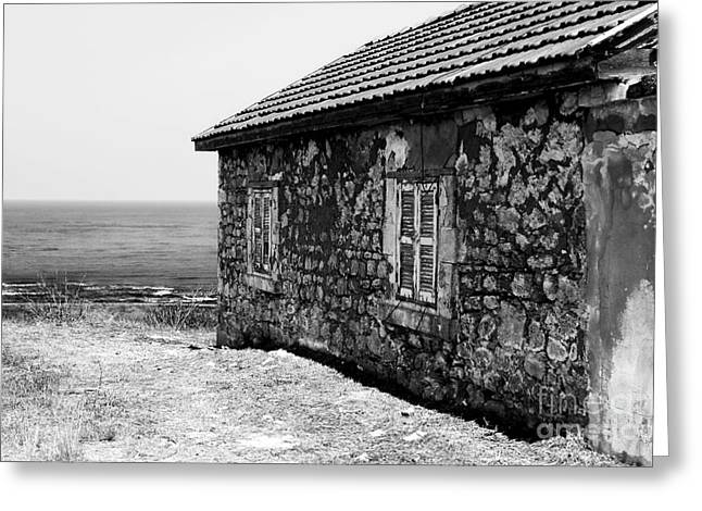 Paphos Window View Greeting Card by John Rizzuto