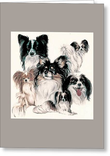 Papillon And Phalene Collage Greeting Card