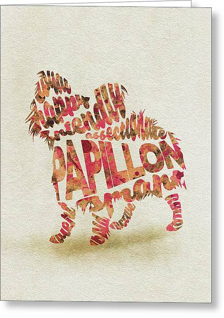 Papillon Dog Watercolor Painting / Typographic Art Greeting Card