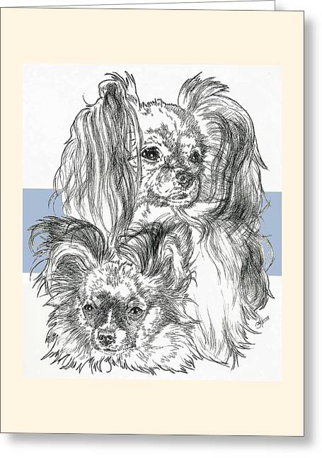 Papillon Father And Son Greeting Card by Barbara Keith