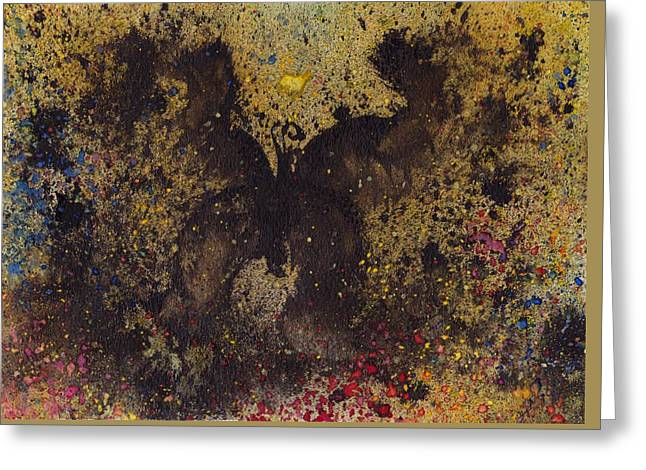 Greeting Card featuring the painting Papillon Noir - Dark Butterfly - Mariposa Negra by Marc Philippe Joly