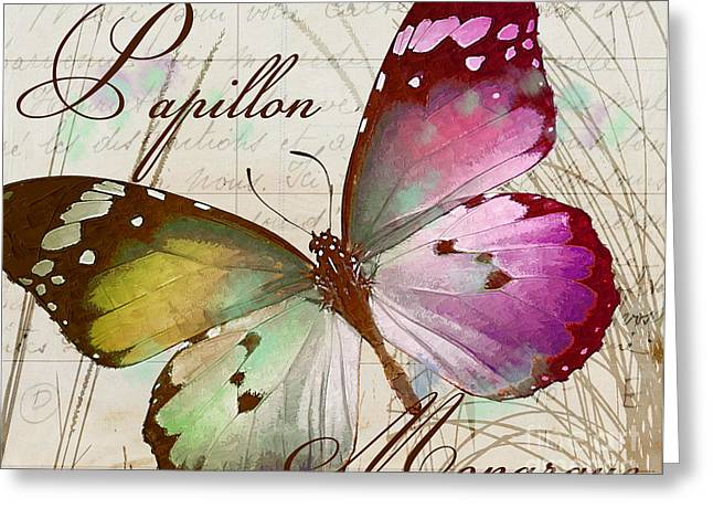 Papillon Pink Greeting Card by Mindy Sommers