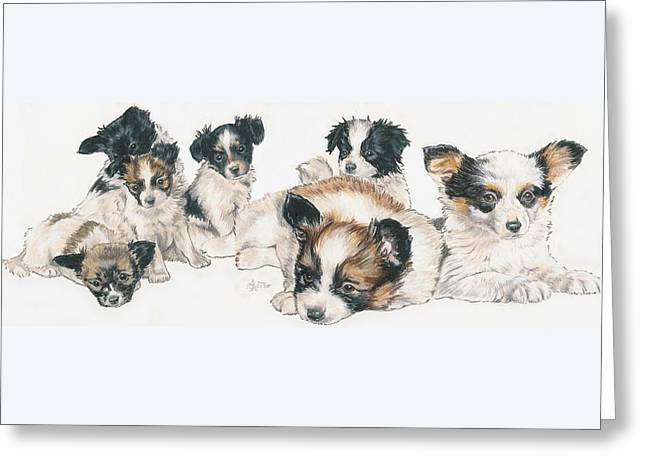 Papillon Puppies Greeting Card by Barbara Keith