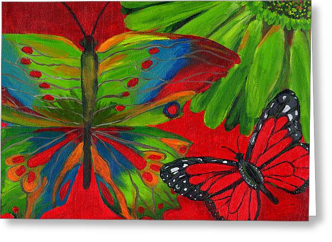 Butterflies Paintings Greeting Cards - Papillon Rouge Greeting Card by Debbie McCulley
