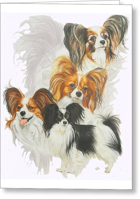 Papillon W/ghost Greeting Card by Barbara Keith