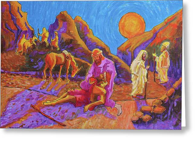 Parables Of Jesus Parable Of The Good Samaritan Painting Bertram Poole Greeting Card