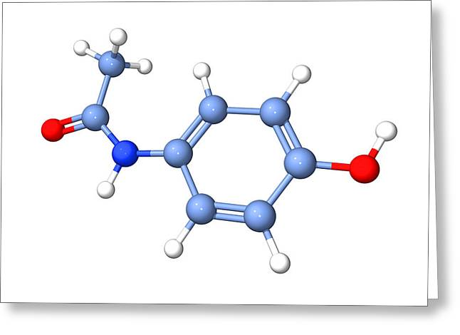 Paracetamol Molecule Greeting Card by Dr Tim Evans