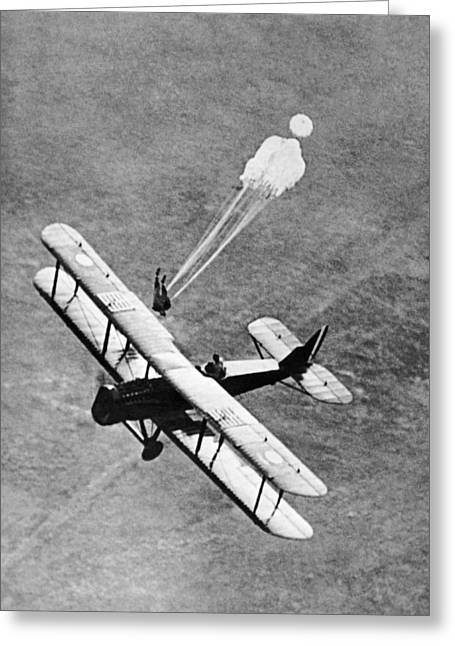 Parachute Jump Demonstration Greeting Card by Underwood Archives