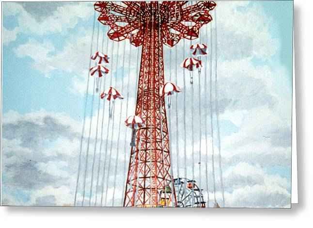 Parachute Jump In Coney Island New York Greeting Card