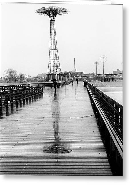 Greeting Card featuring the photograph Parachute Jump In Rain by Dave Beckerman